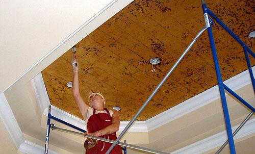 Mimi works on a broken gold leaf ceiling.