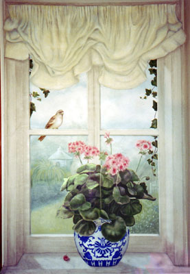 Trompe L'Oiel Geranium window